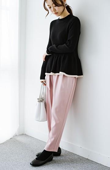 haco! お仕事だって気を抜かない! 楽ちんなのにすっきり見えるきれい色テーパードパンツ <ピンク>の商品写真