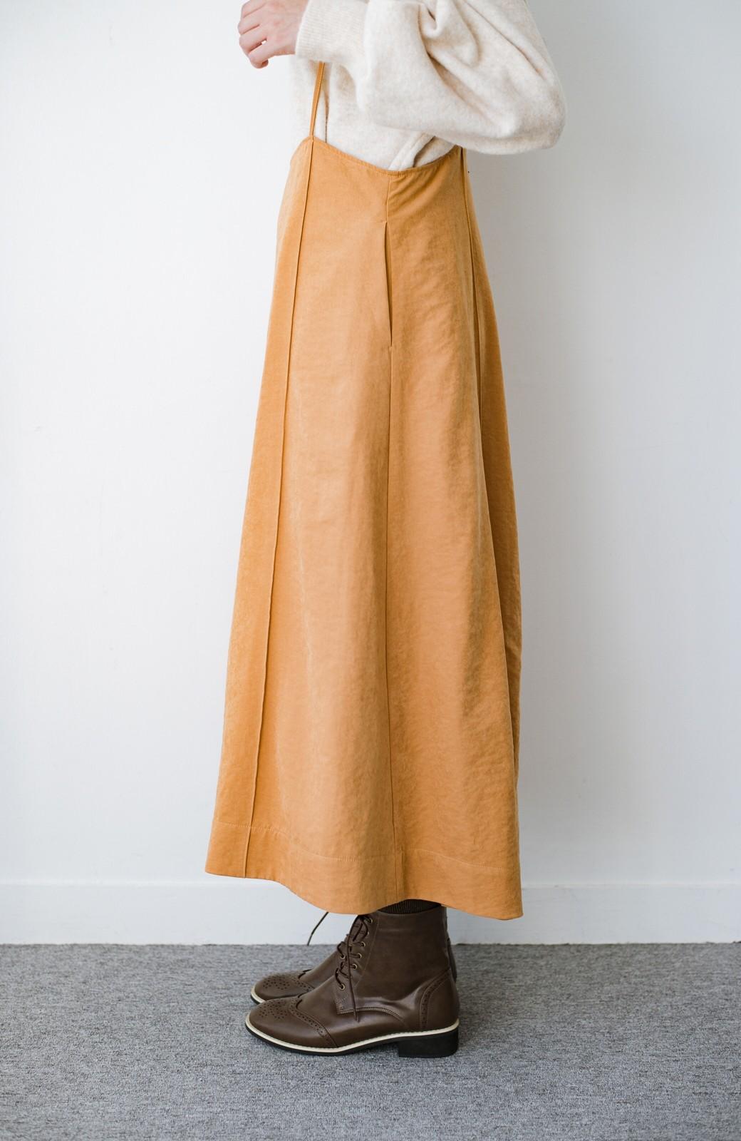 haco! トップス次第で着まわし自在! 微起毛素材があたたかみのあるキャミサロペットスカート <オレンジ>の商品写真7