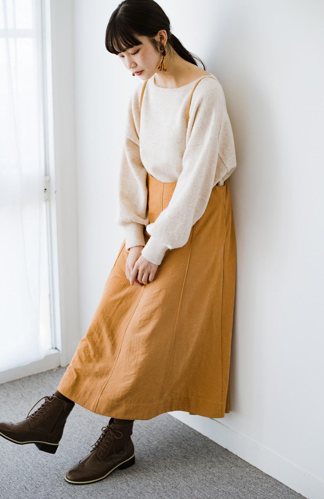haco! トップス次第で着まわし自在! 微起毛素材があたたかみのあるキャミサロペットスカート <オレンジ>の商品写真19