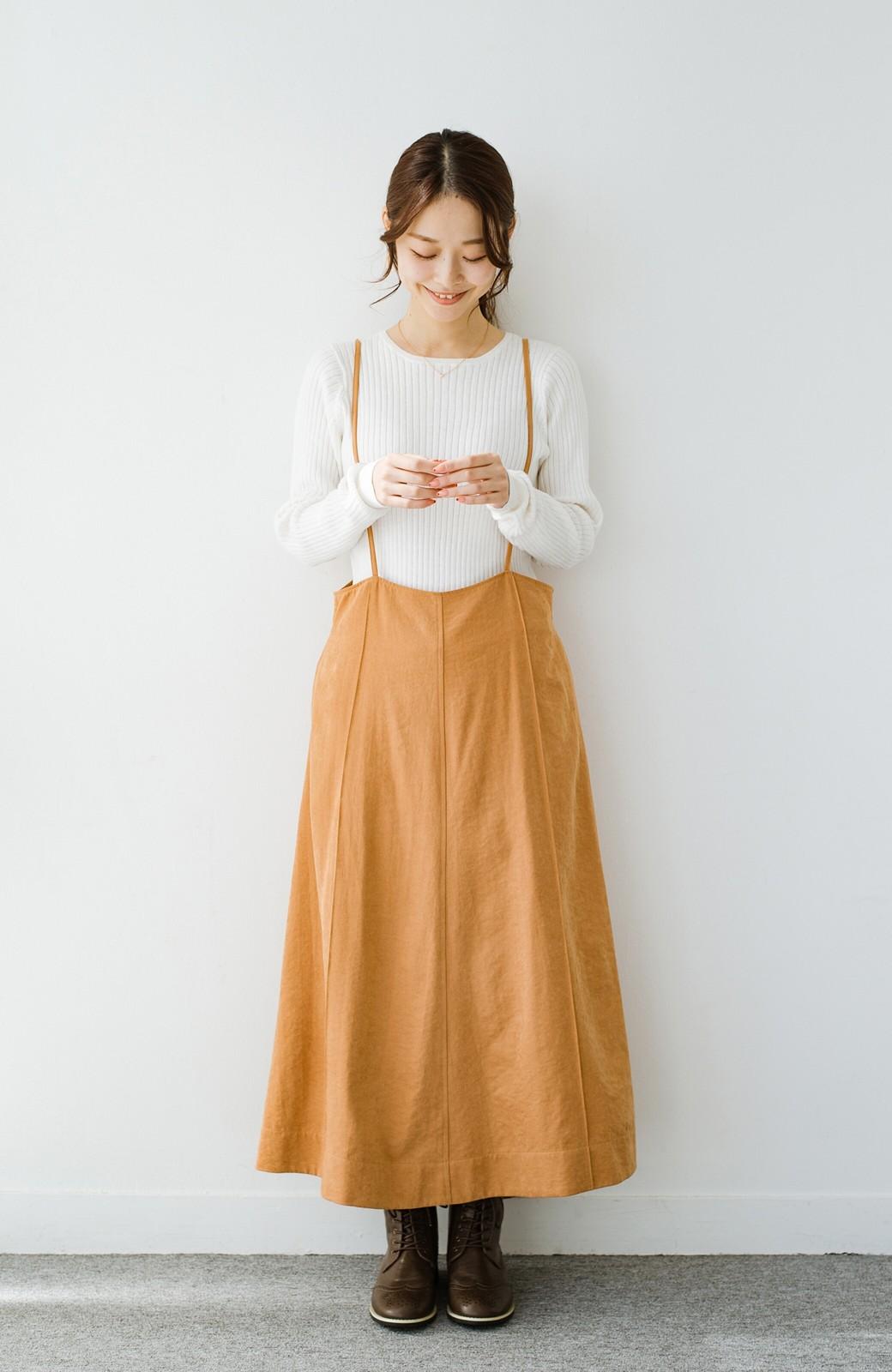 haco! トップス次第で着まわし自在! 微起毛素材があたたかみのあるキャミサロペットスカート <オレンジ>の商品写真4