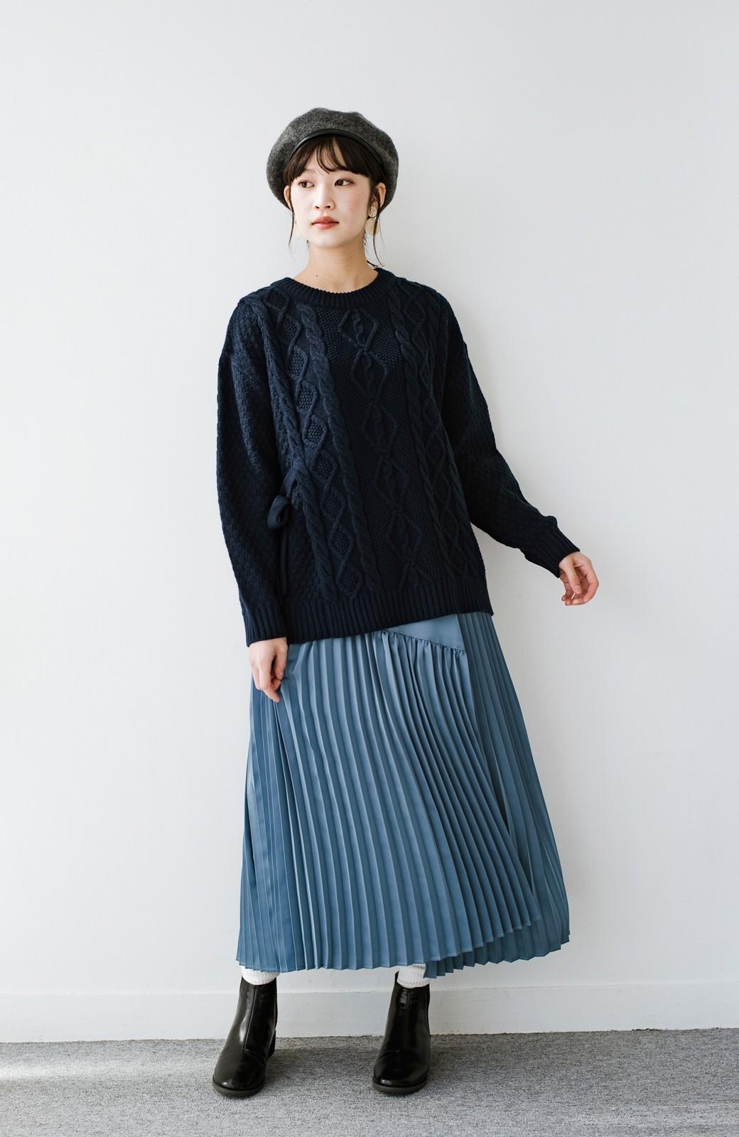 haco! 【スザンヌさんコラボ】スウェットもTシャツも着映えさせる!ラップデザイン風アシンメトリーサテンプリーツスカート by LOVE&PEACE PROJECT <ブルー>の商品写真15