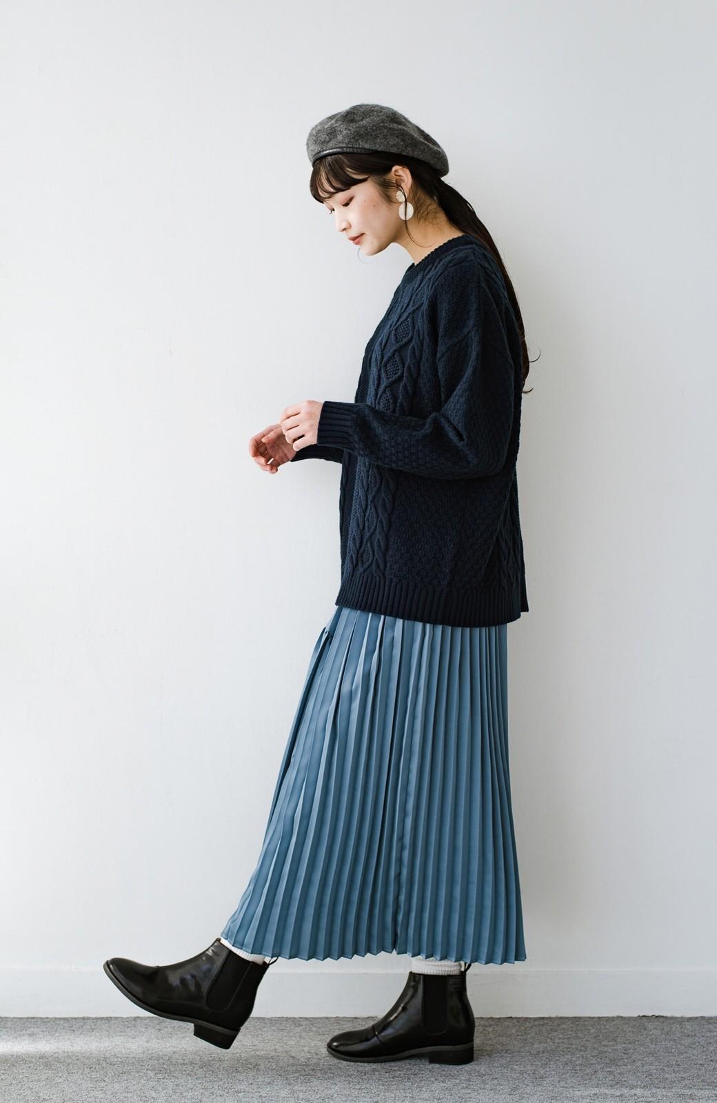 haco! 【スザンヌさんコラボ】スウェットもTシャツも着映えさせる!ラップデザイン風アシンメトリーサテンプリーツスカート by LOVE&PEACE PROJECT <ブルー>の商品写真16