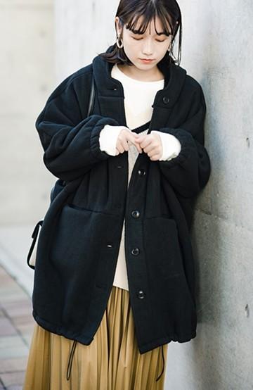 haco! さっと羽織って今っぽい ゆるっとサイズがかわいい裏起毛のあったかジャケットby Z of zampa Organic <ブラック>の商品写真