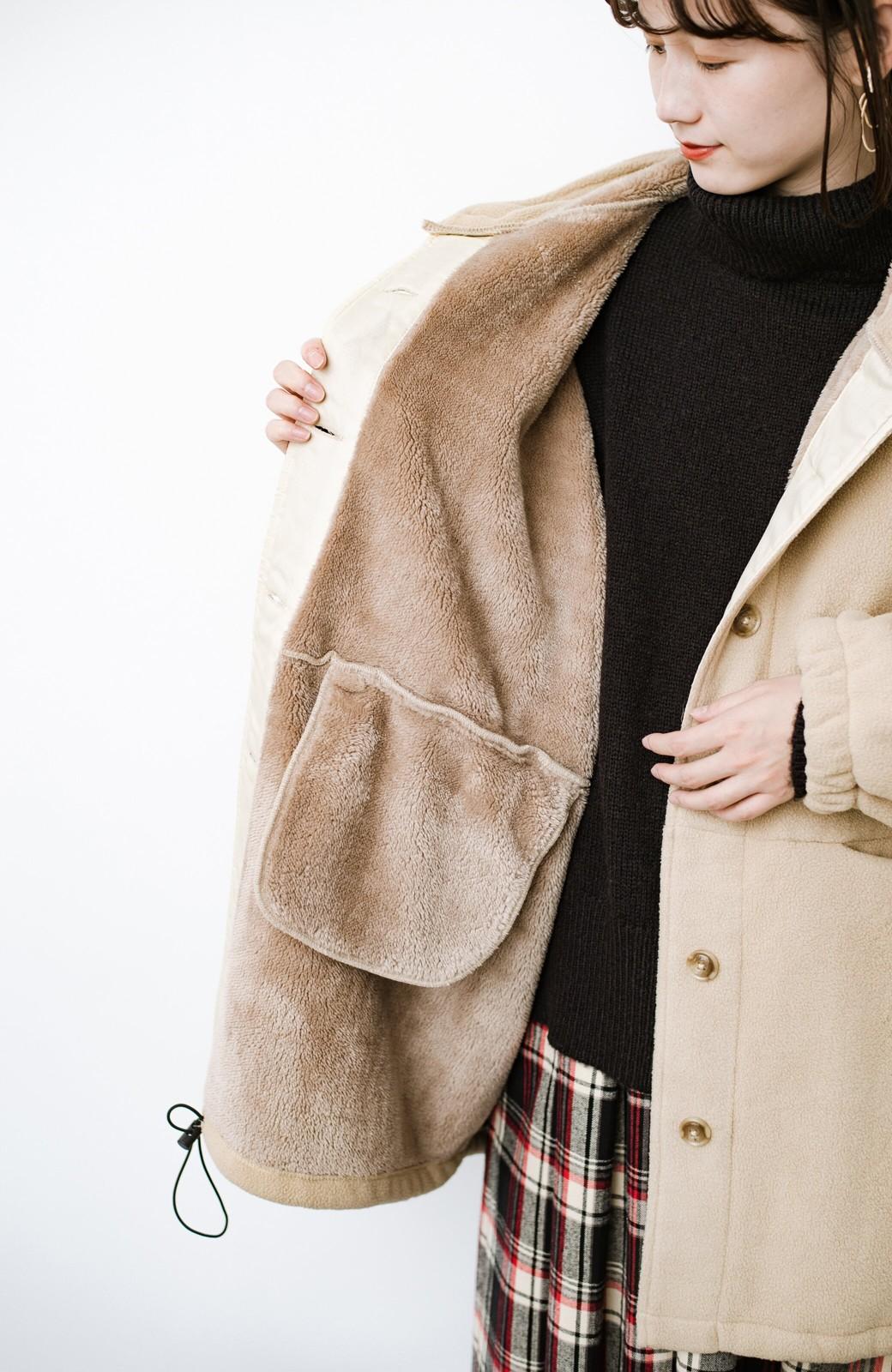haco! さっと羽織って今っぽい ゆるっとサイズがかわいい裏起毛のあったかジャケットby Z of zampa Organic <ライトベージュ>の商品写真10