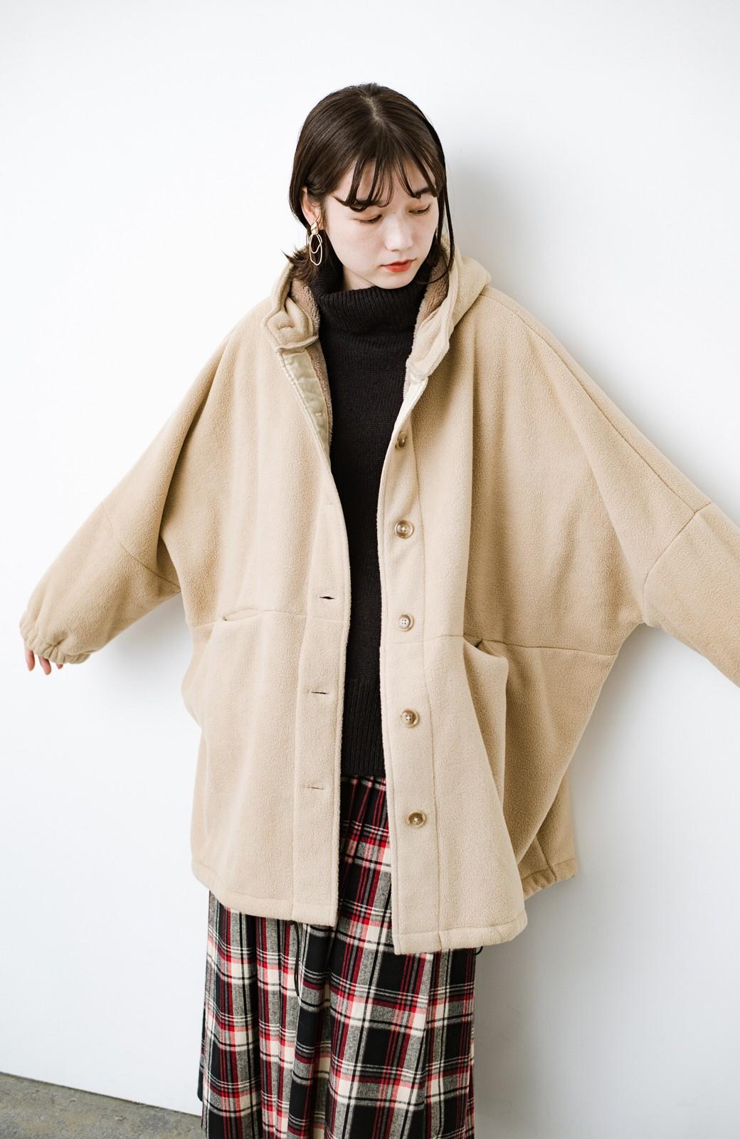 haco! さっと羽織って今っぽい ゆるっとサイズがかわいい裏起毛のあったかジャケットby Z of zampa Organic <ライトベージュ>の商品写真3