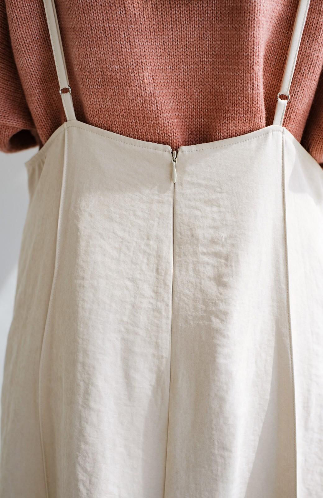 haco! トップス次第で着まわし自在! 微起毛素材があたたかみのあるキャミサロペットスカート <アイボリー>の商品写真11