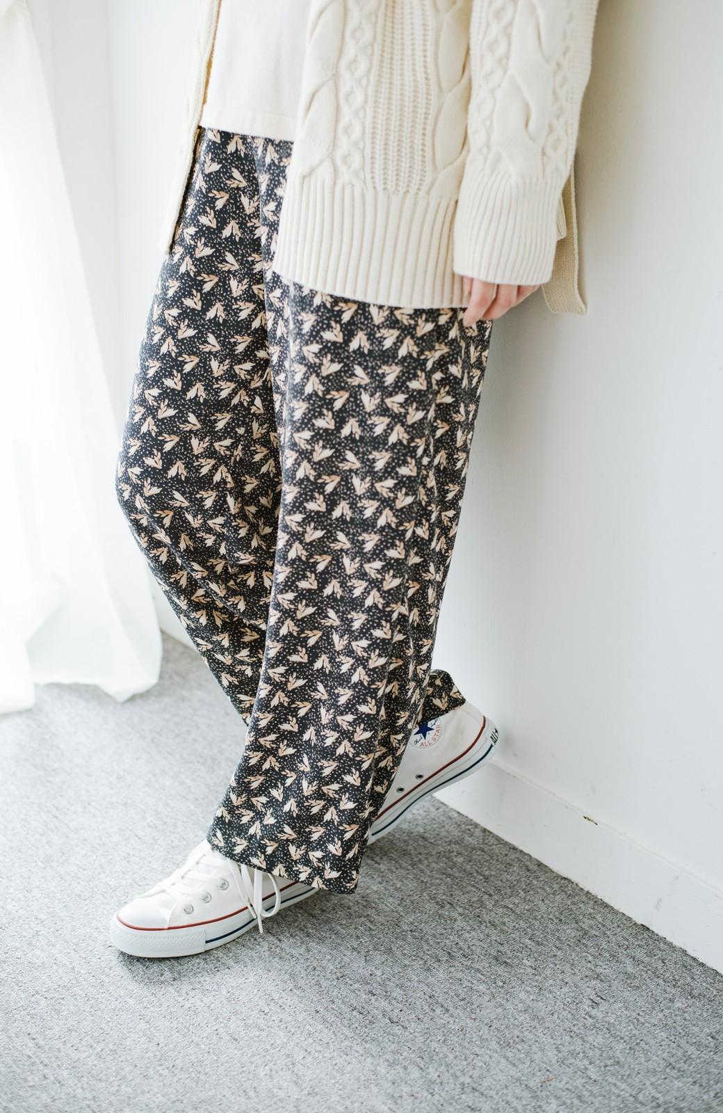 haco! 1枚でも重ね着でもパッと着映えする すっきりシルエットの大人の柄パンツ <ネイビー>の商品写真1