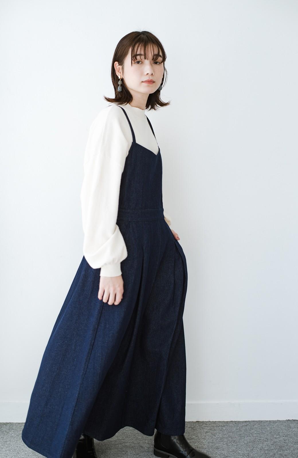 haco! 華奢見せデザインで女っぽ!Tシャツにもニットにも似合ってずっと使えるデニムサロペットスカート <ブルー>の商品写真6