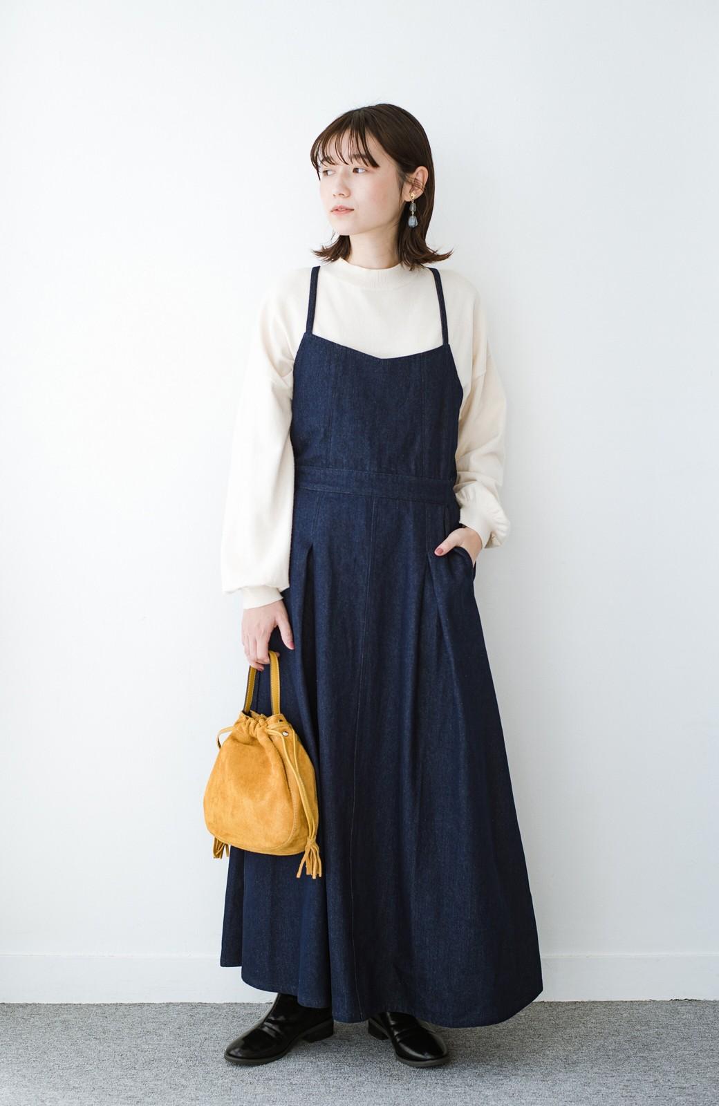 haco! 華奢見せデザインで女っぽ!Tシャツにもニットにも似合ってずっと使えるデニムサロペットスカート <ブルー>の商品写真1