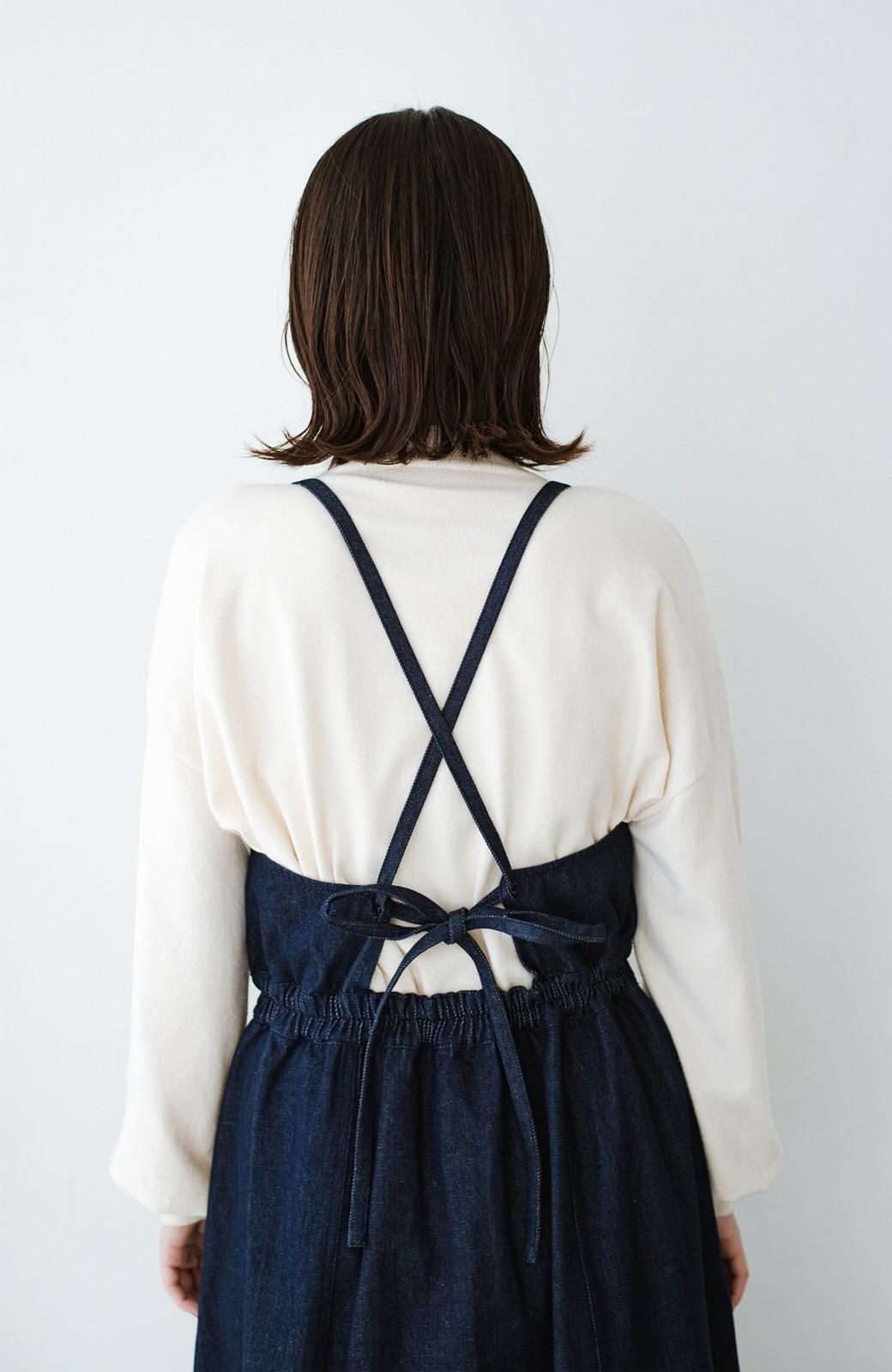 haco! 華奢見せデザインで女っぽ!Tシャツにもニットにも似合ってずっと使えるデニムサロペットスカート <ブルー>の商品写真13