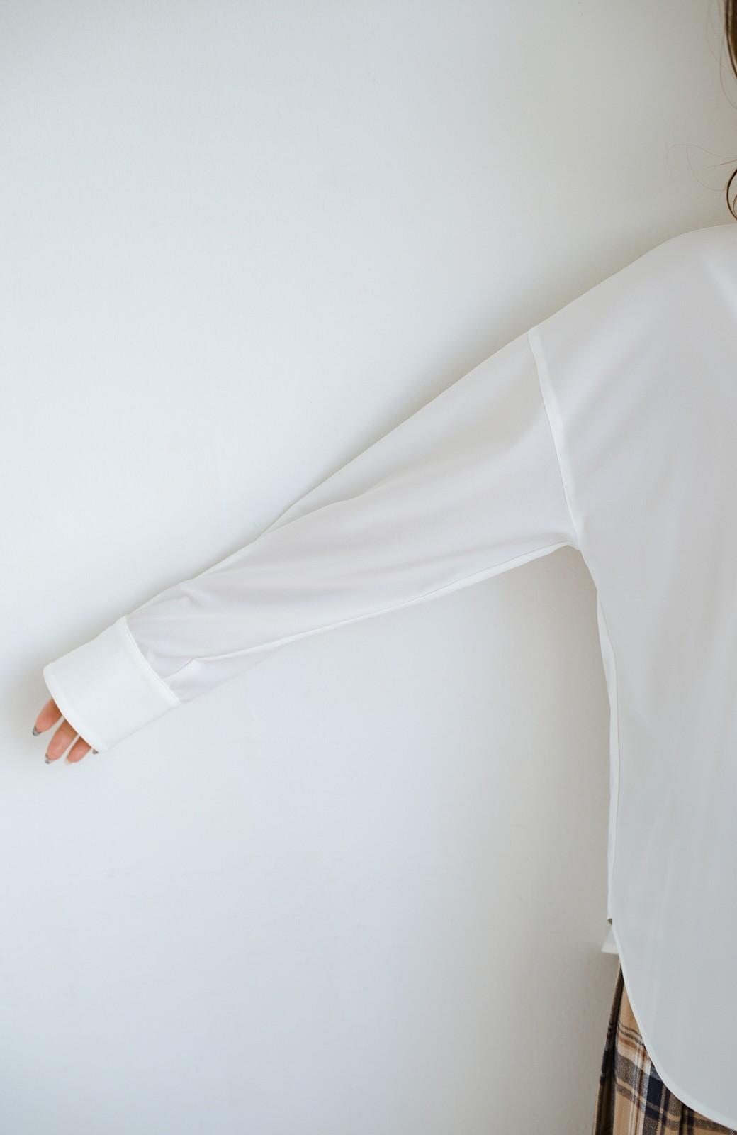 haco! 【肩幅党】肩幅広めがなんのその!華奢見せをとことん追求した重ね着にも便利なスタンドカラーシャツ <ホワイト>の商品写真6