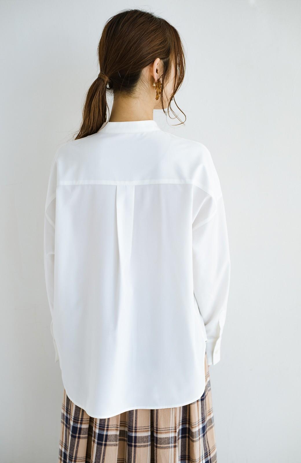 haco! 【肩幅党】あの大人気白シャツが進化!華奢見せ計算済みのVネックニットがさらに冬おしゃれを後押し! 第一印象おまかせあれ!の便利なシャツ&ニットセット <ブルーグリーン>の商品写真13