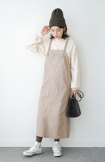 haco! 【おなかぽっこり党】究極のIラインシルエット! おなかのラインも一直線になかったことに♪すらっと見せも叶う 甘やかし上手な大人っぽジャンパースカート <グレイッシュベージュ>の商品写真