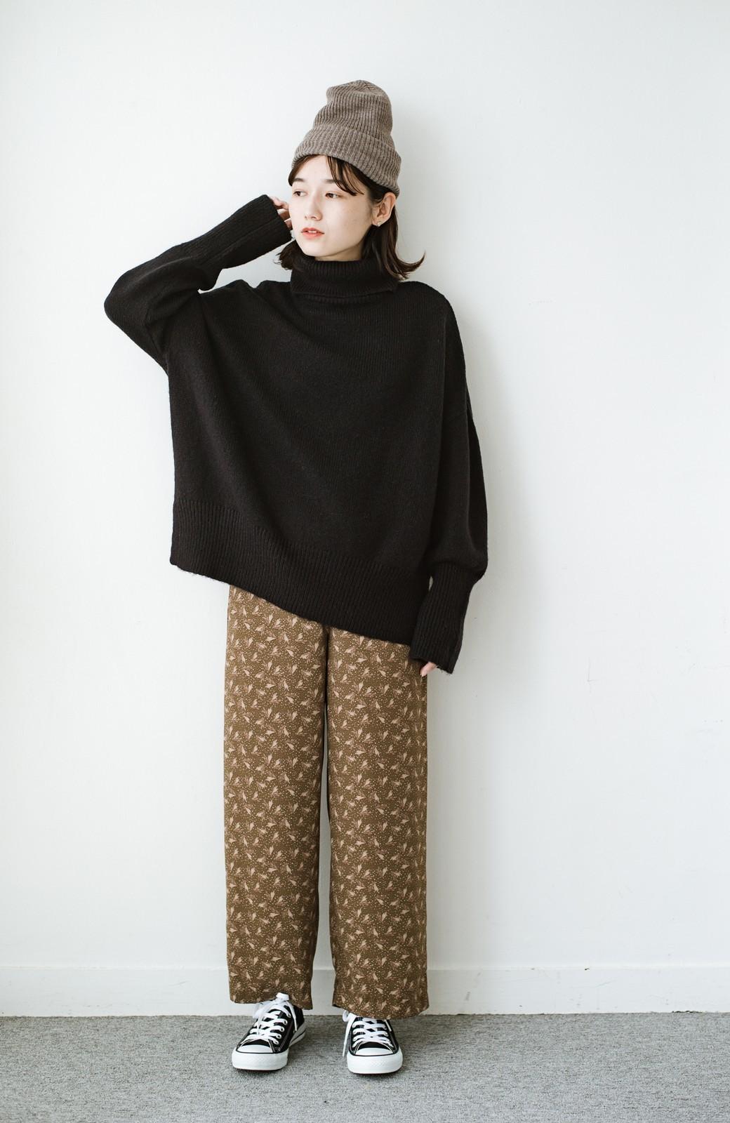 haco! 1枚でも重ね着でもパッと着映えする すっきりシルエットの大人の柄パンツ <ブラウン>の商品写真19