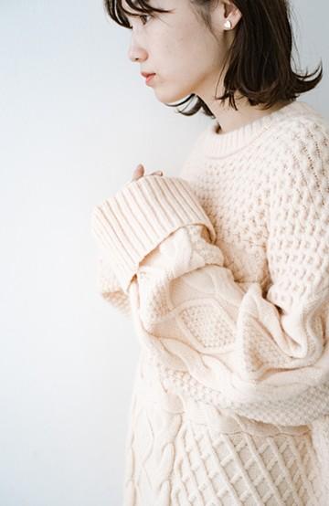 haco! コーデの主役になる編み地にきゅん ゆるりと全部隠して可愛いビッグシルエットニット <ピンクベージュ>の商品写真