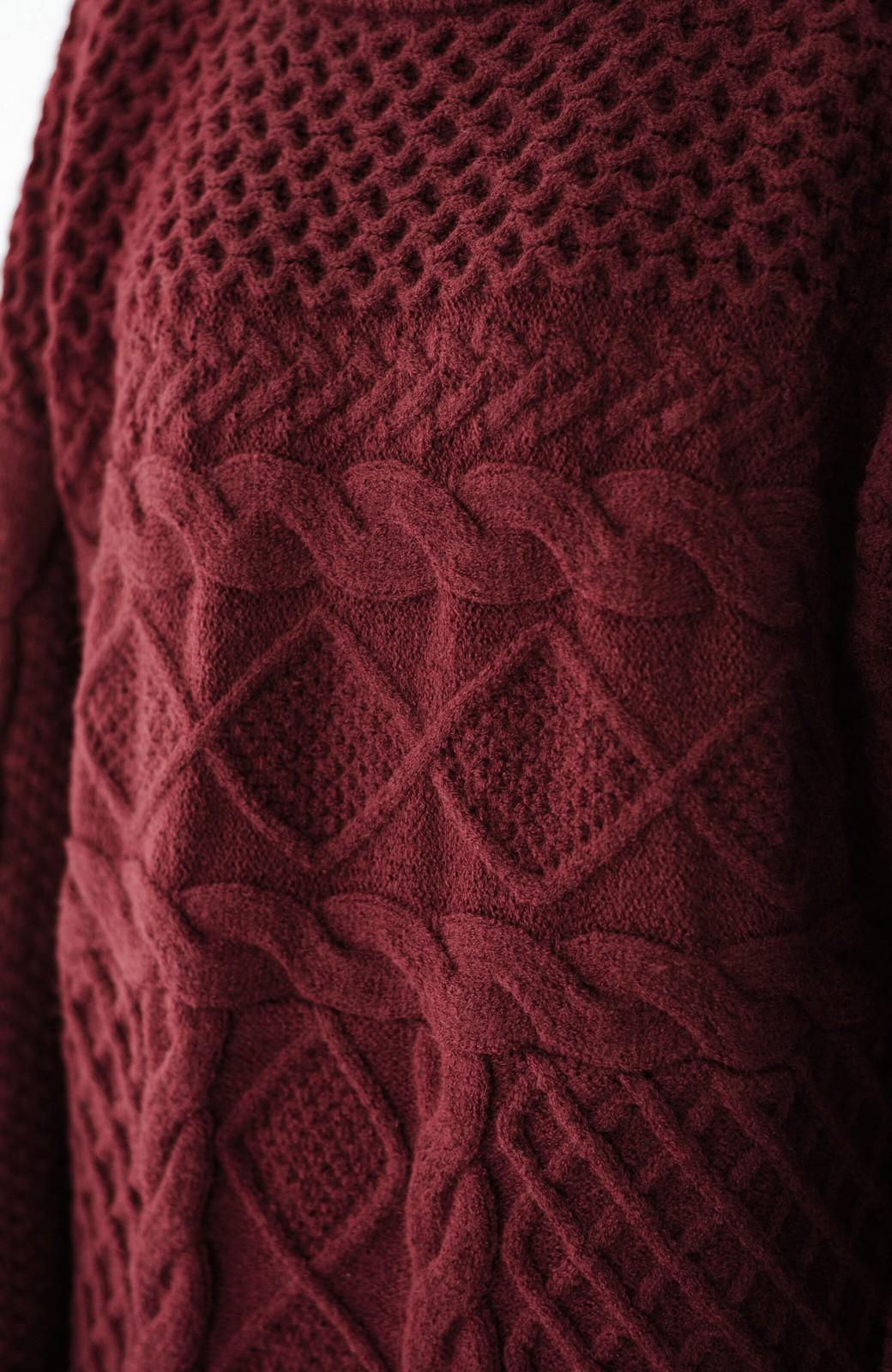 haco! コーデの主役になる編み地にきゅん ゆるりと全部隠して可愛いビッグシルエットニット <ボルドー>の商品写真7