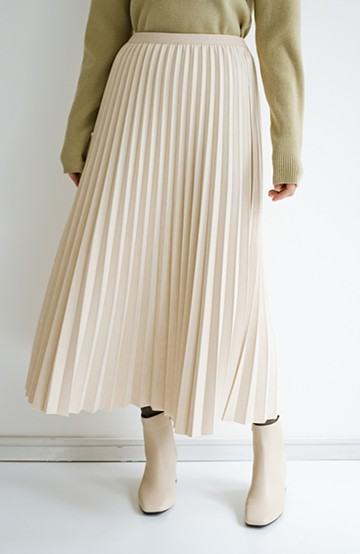 haco! たちまち旬顔!ニットにもスウェットにも似合うフェイクスエードのプリーツスカート by Nohea<アイボリー>の商品写真