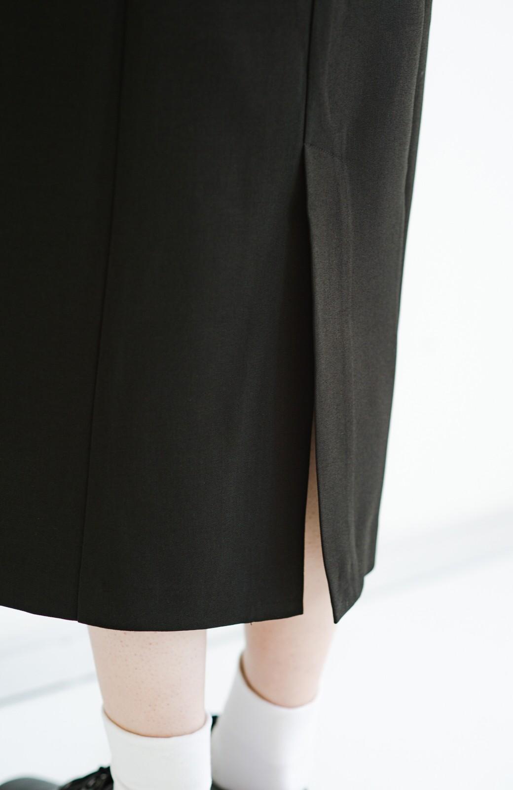 haco! きちんとシーンもオシャレでいたい大人のためのボリューム袖がかわいい麻調素材のワンピース by que made me <ブラック>の商品写真11
