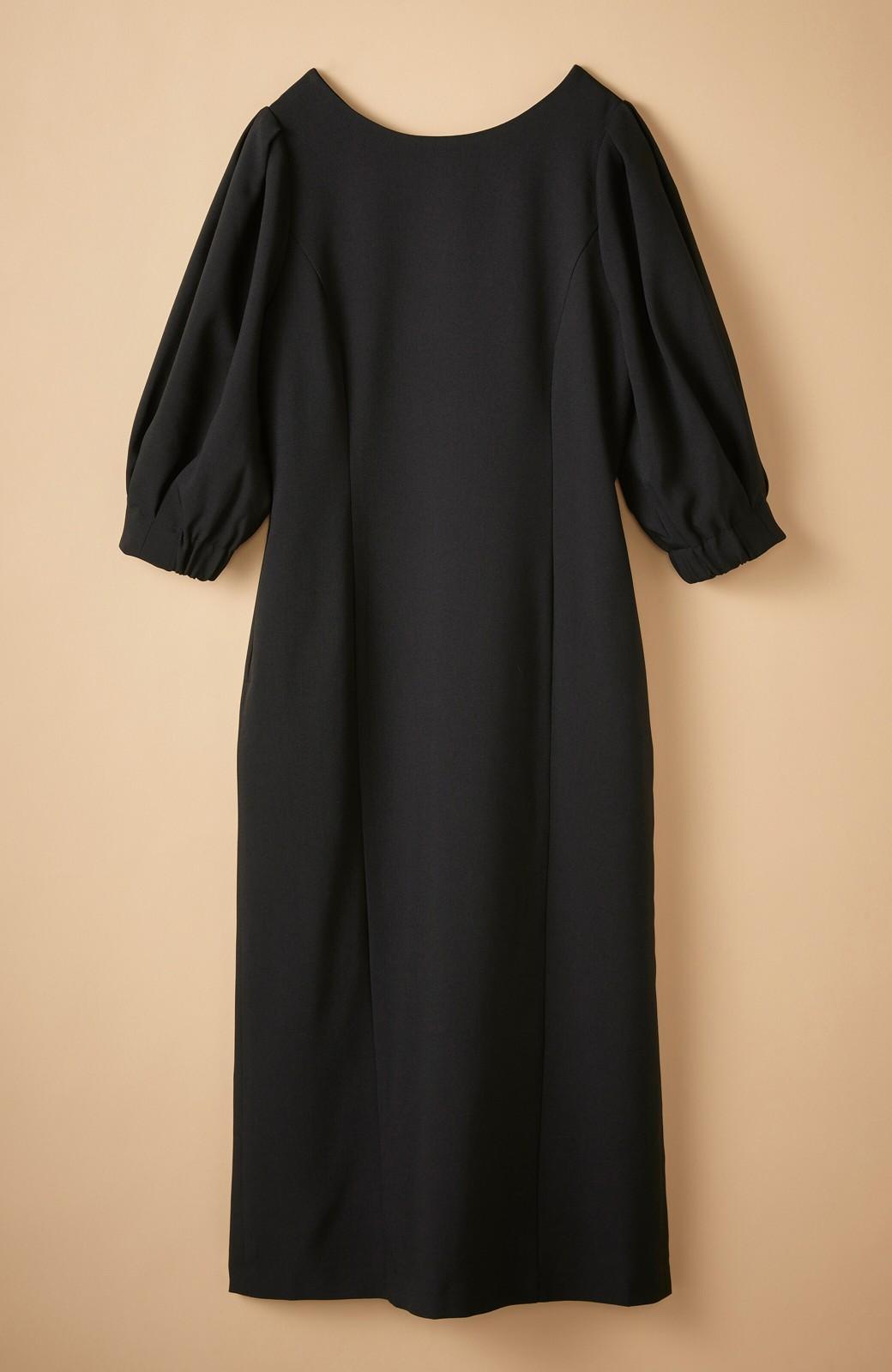 haco! きちんとシーンもオシャレでいたい大人のためのボリューム袖がかわいい麻調素材のワンピース by que made me <ブラック>の商品写真18