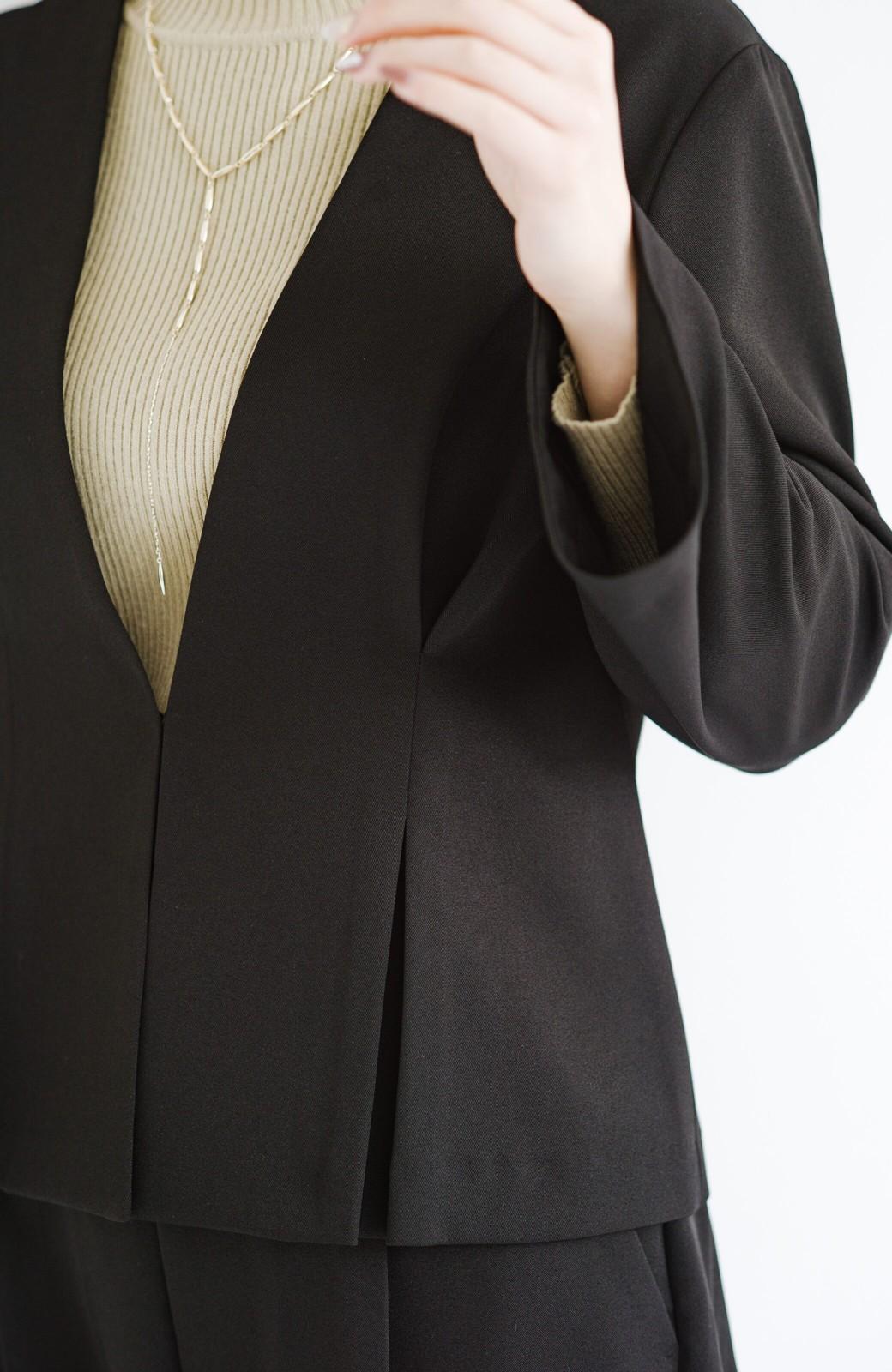 haco! 【華やか】これさえあればきちんとシーンも地味すぎない! 大人の華やかジャケット・パンツ・スカート3点セット <ブラック>の商品写真16