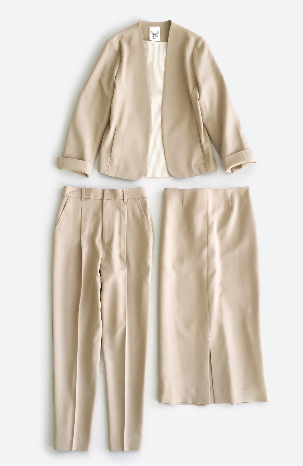 haco! 【シンプル】これさえあればきちんとシーンも怖くない!大人のシンプルジャケット・パンツ・スカート3点セット <ベージュ>の商品写真42