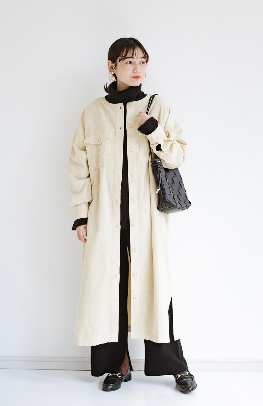 haco! さっと持って女っぽ 手編みメッシュが上品なやわらかフェイクレザーのトートバッグ <ブラック>の商品写真12