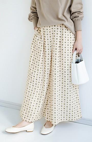 haco! らくちん&着映えが頼りになる 安心感たっぷりスカートみたいなシルエットの柄パンツ <ベージュ>の商品写真