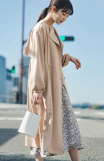 haco! さっと羽織って女っぽさプラス!気分もルンとするやわらか素材のロングコート <ベージュ>の商品写真