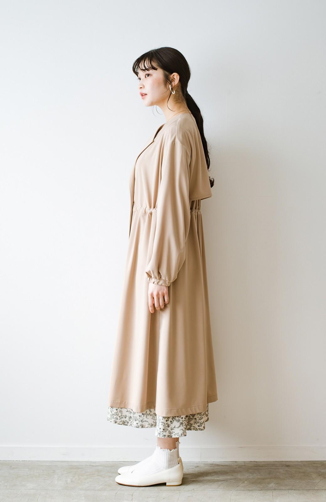 haco! さっと羽織って女っぽさプラス!気分もルンとするやわらか素材のロングコート <ベージュ>の商品写真18