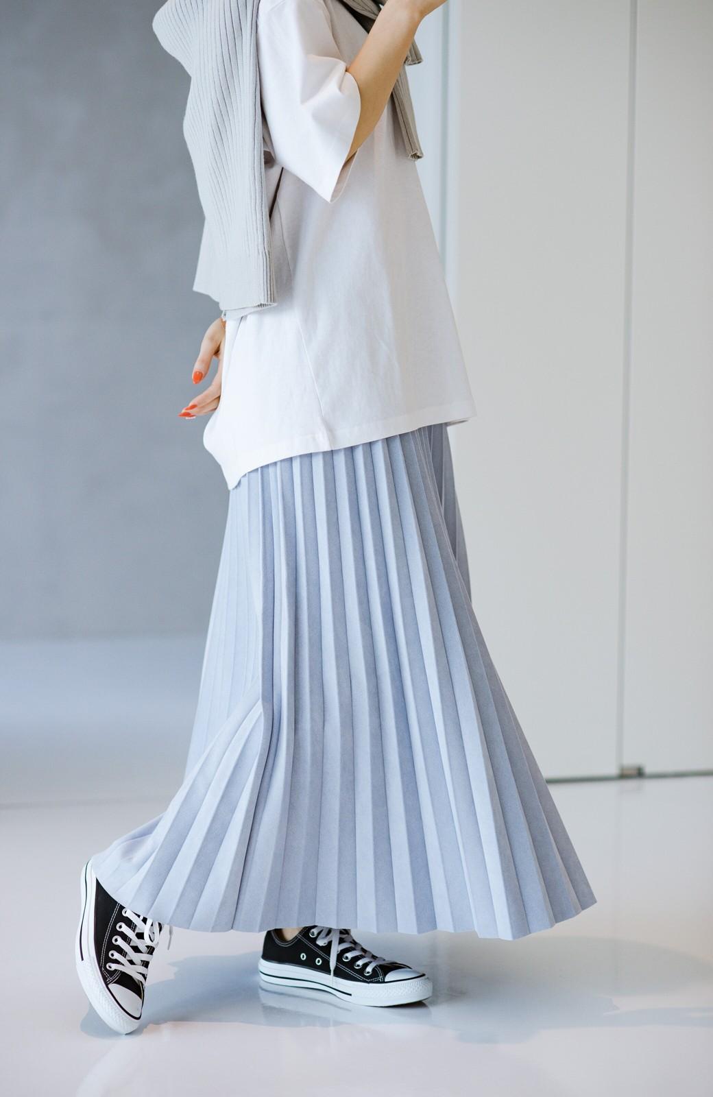 haco! たちまち旬顔!ニットにもスウェットにも似合うフェイクスエードのプリーツスカート by Nohea <ライトブルー>の商品写真9