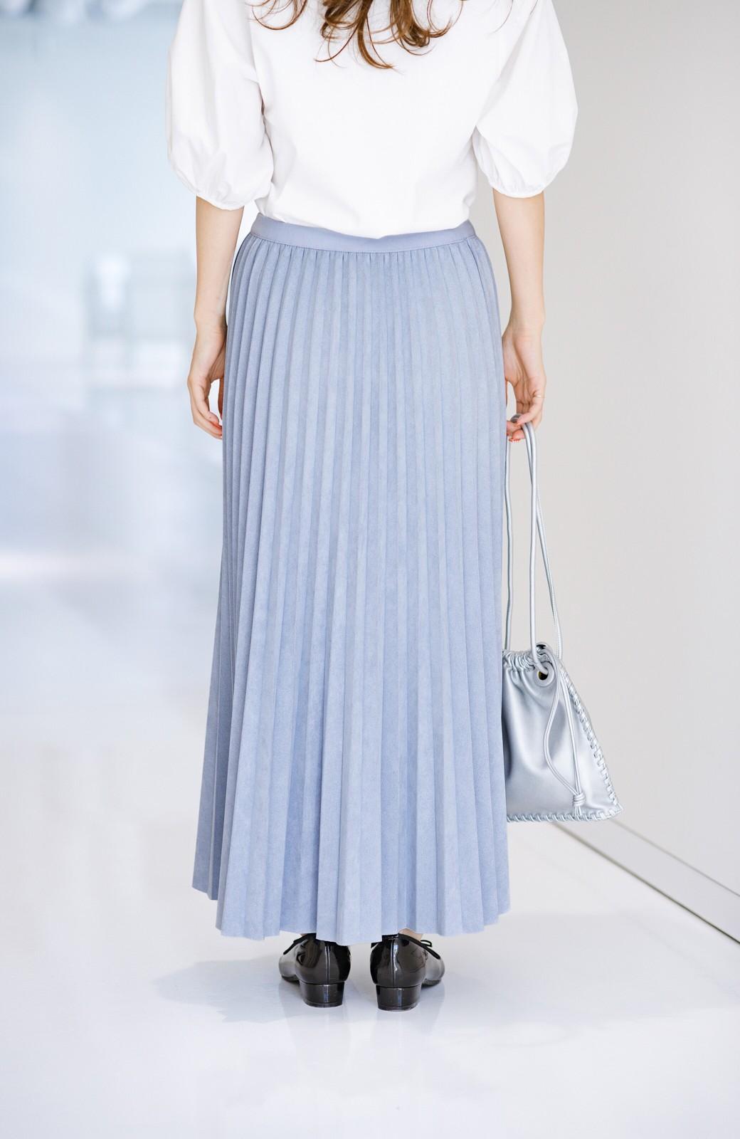 haco! たちまち旬顔!ニットにもスウェットにも似合うフェイクスエードのプリーツスカート by Nohea <ライトブルー>の商品写真3