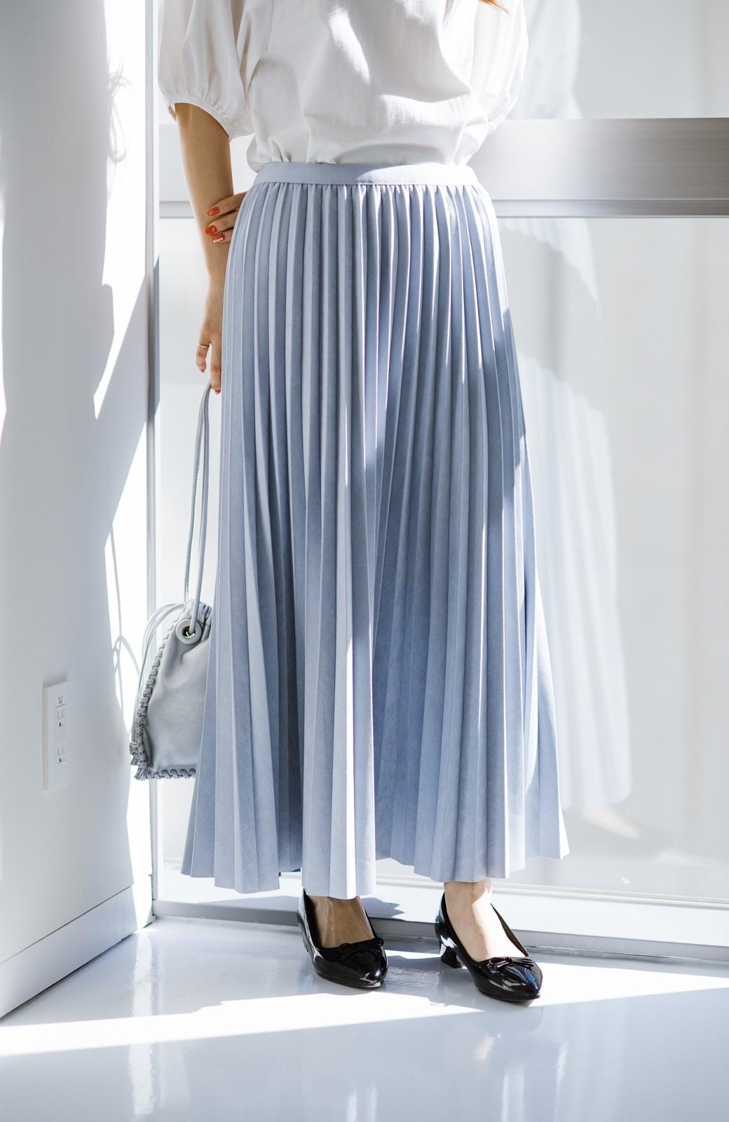 haco! たちまち旬顔!ニットにもスウェットにも似合うフェイクスエードのプリーツスカート by Nohea <ライトブルー>の商品写真6