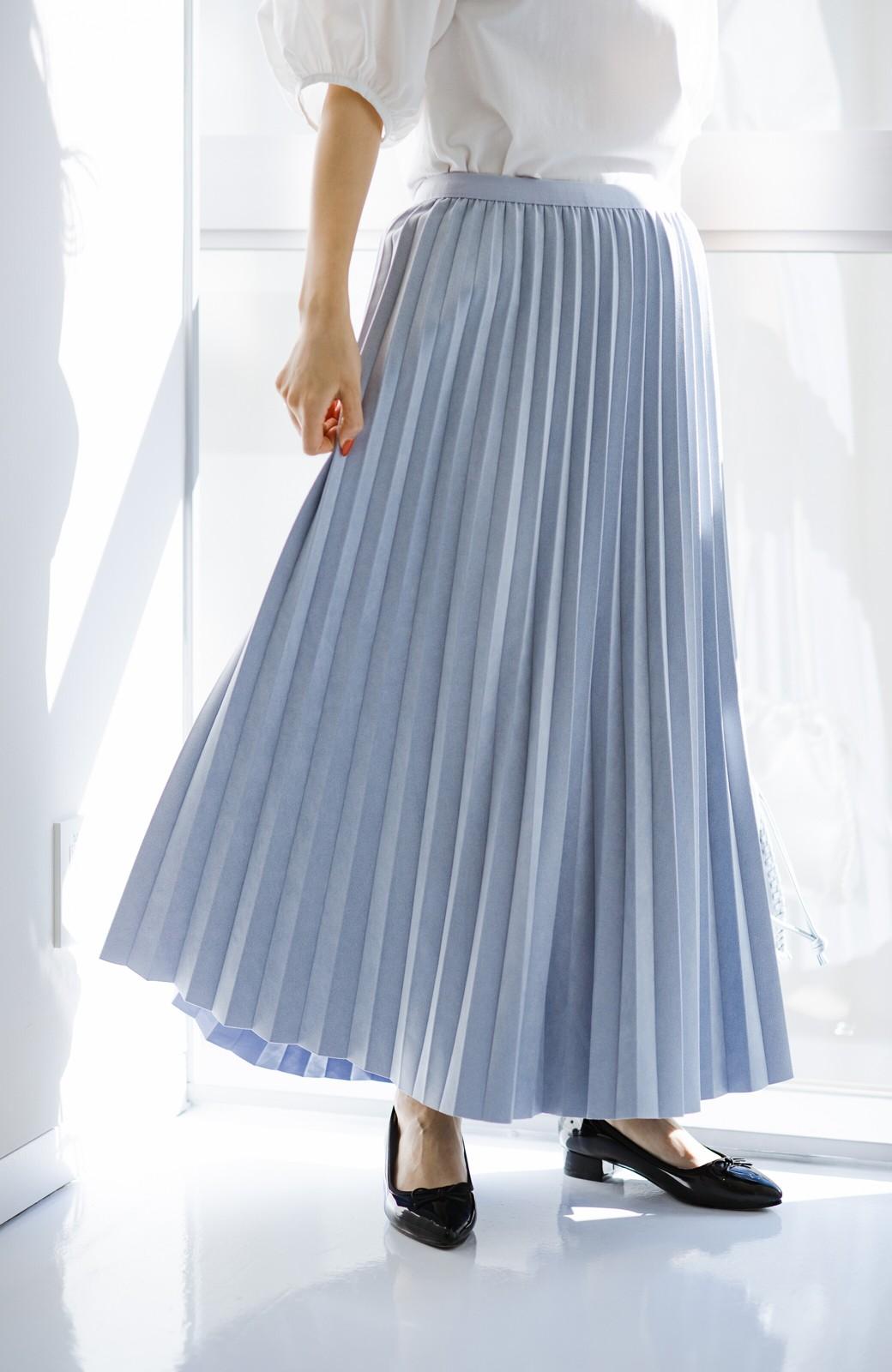 haco! たちまち旬顔!ニットにもスウェットにも似合うフェイクスエードのプリーツスカート by Nohea <ライトブルー>の商品写真7