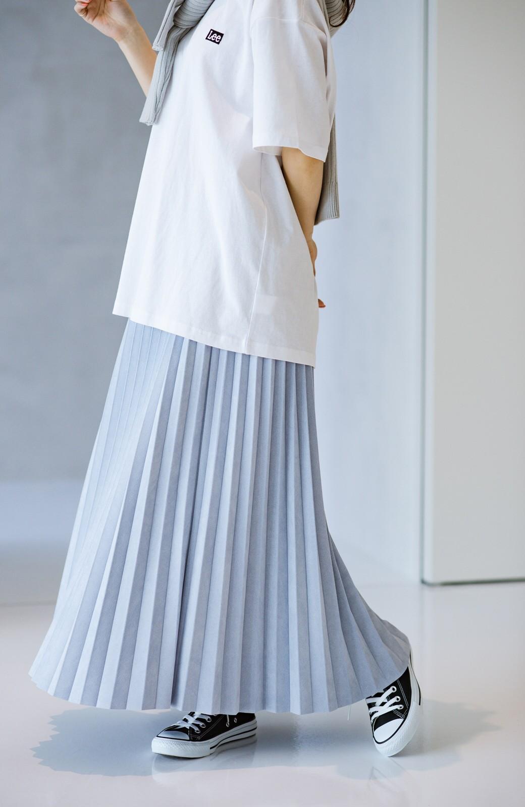 haco! たちまち旬顔!ニットにもスウェットにも似合うフェイクスエードのプリーツスカート by Nohea <ライトブルー>の商品写真8