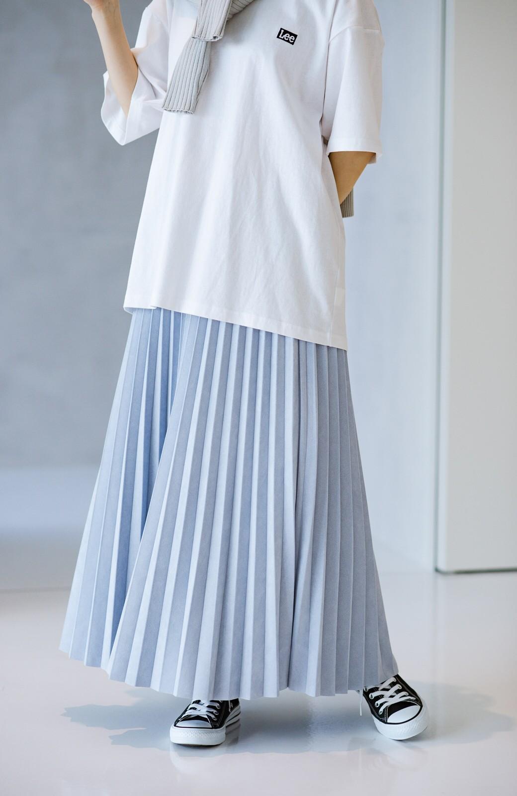 haco! たちまち旬顔!ニットにもスウェットにも似合うフェイクスエードのプリーツスカート by Nohea <ライトブルー>の商品写真15