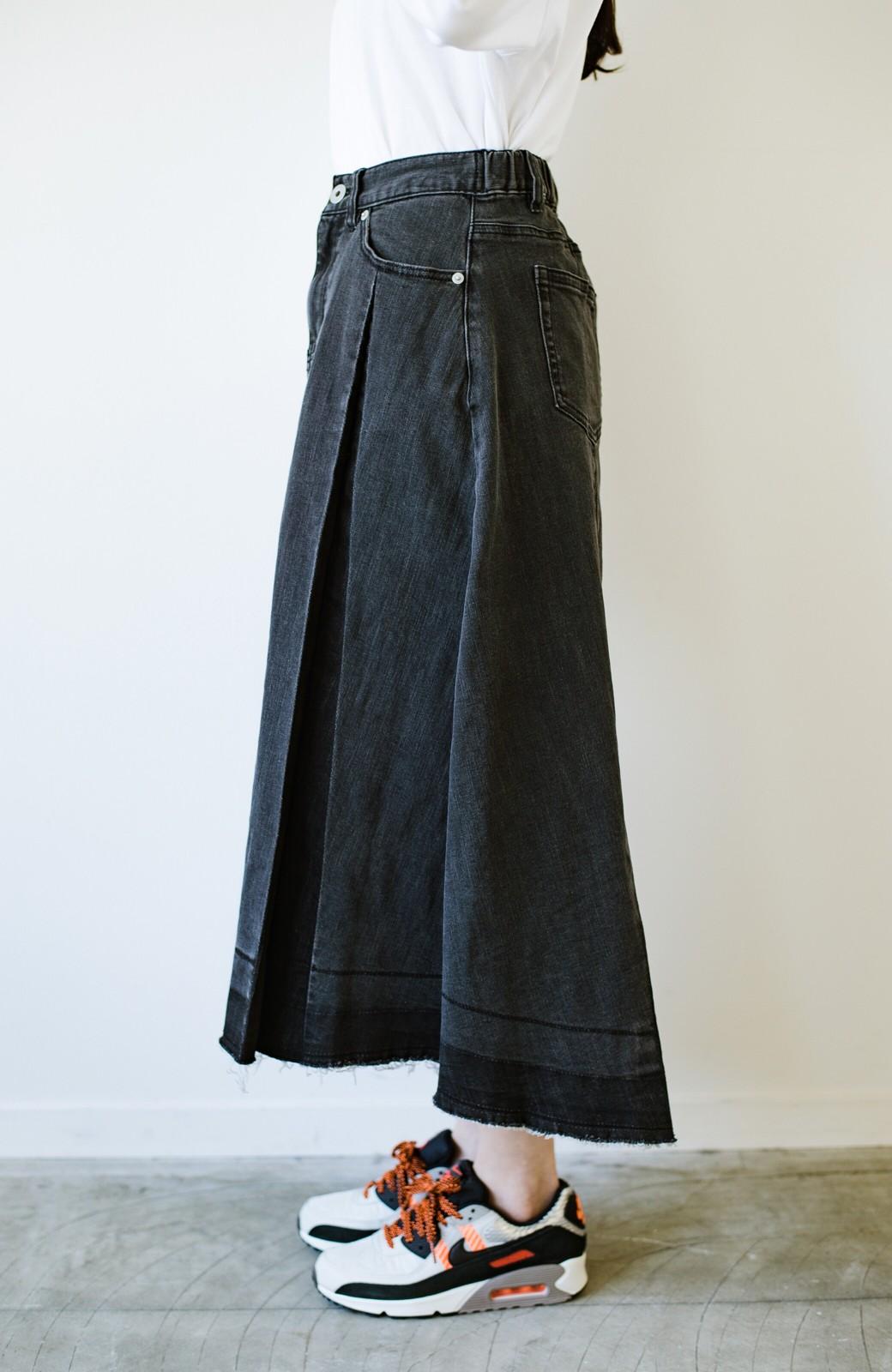 haco! 【新色登場&再入荷!】デニムパネルプリーツスカート <ブラック>の商品写真4
