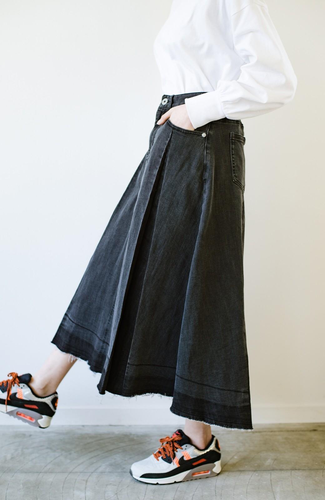 haco! 【新色登場&再入荷!】デニムパネルプリーツスカート <ブラック>の商品写真14