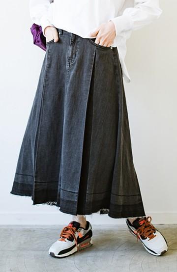 haco! 【新色登場&再入荷!】デニムパネルプリーツスカート<ブラック>の商品写真