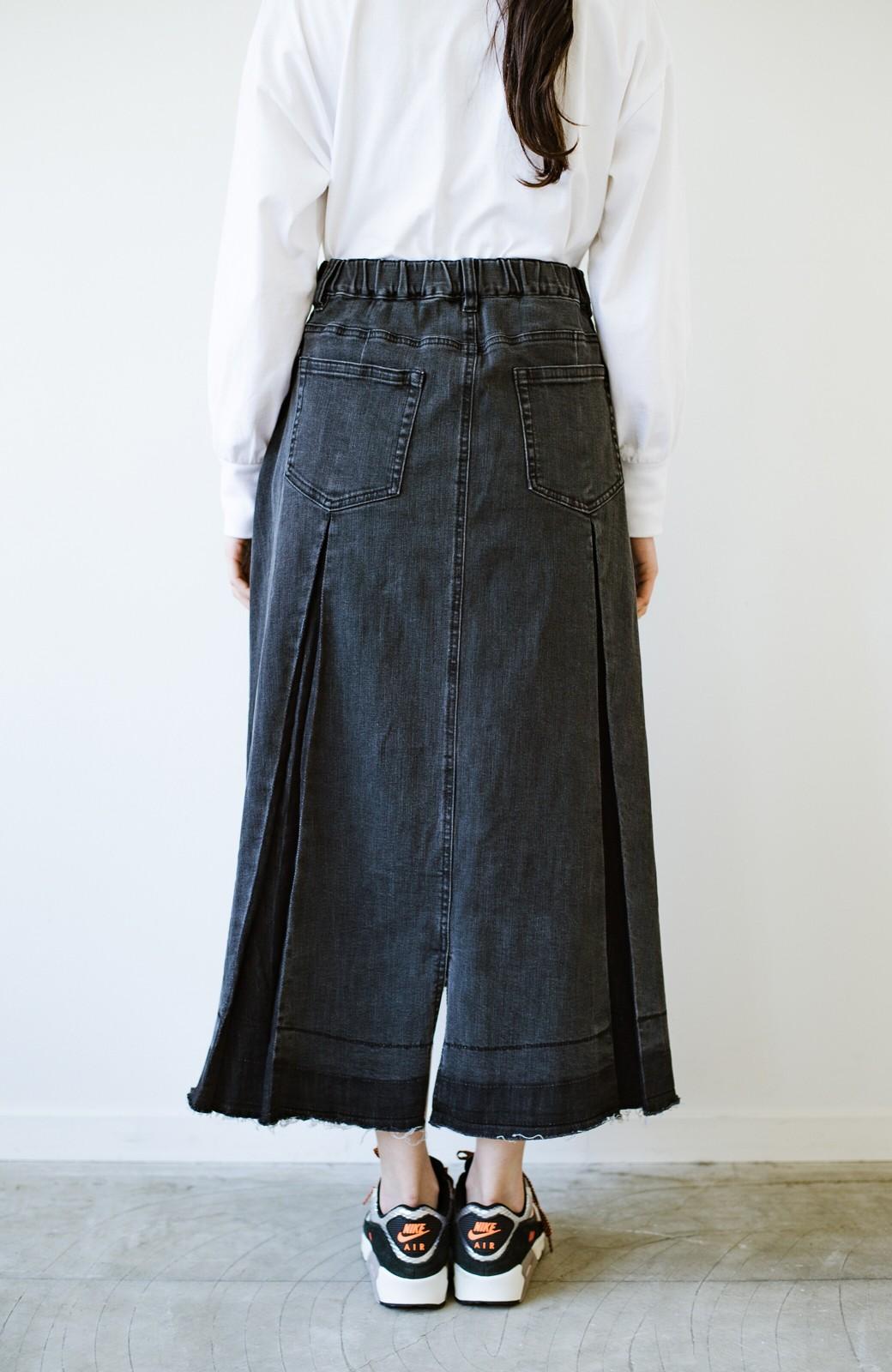 haco! 【新色登場&再入荷!】デニムパネルプリーツスカート <ブラック>の商品写真5