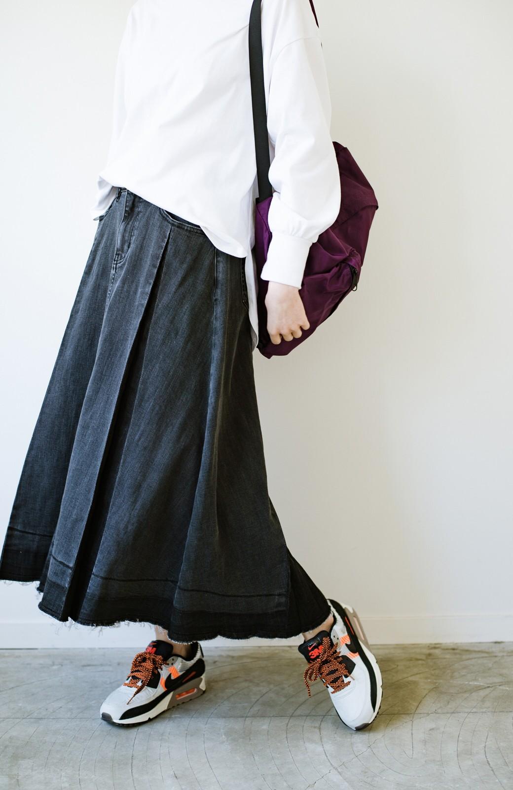 haco! 【新色登場&再入荷!】デニムパネルプリーツスカート <ブラック>の商品写真15