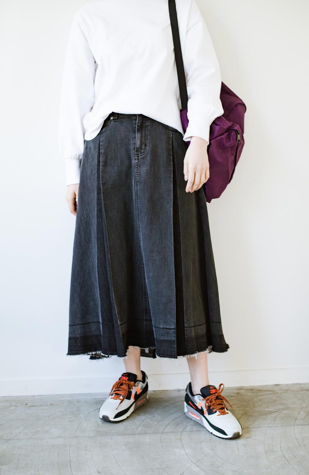 haco! 【新色登場&再入荷!】デニムパネルプリーツスカート <ブラック>の商品写真8