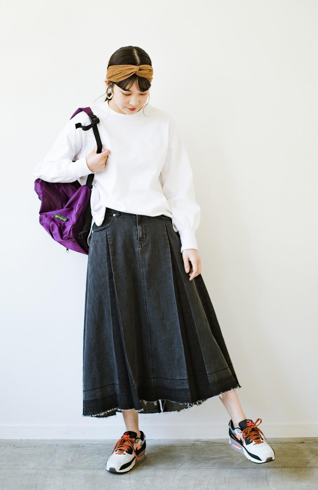haco! 【新色登場&再入荷!】デニムパネルプリーツスカート <ブラック>の商品写真9
