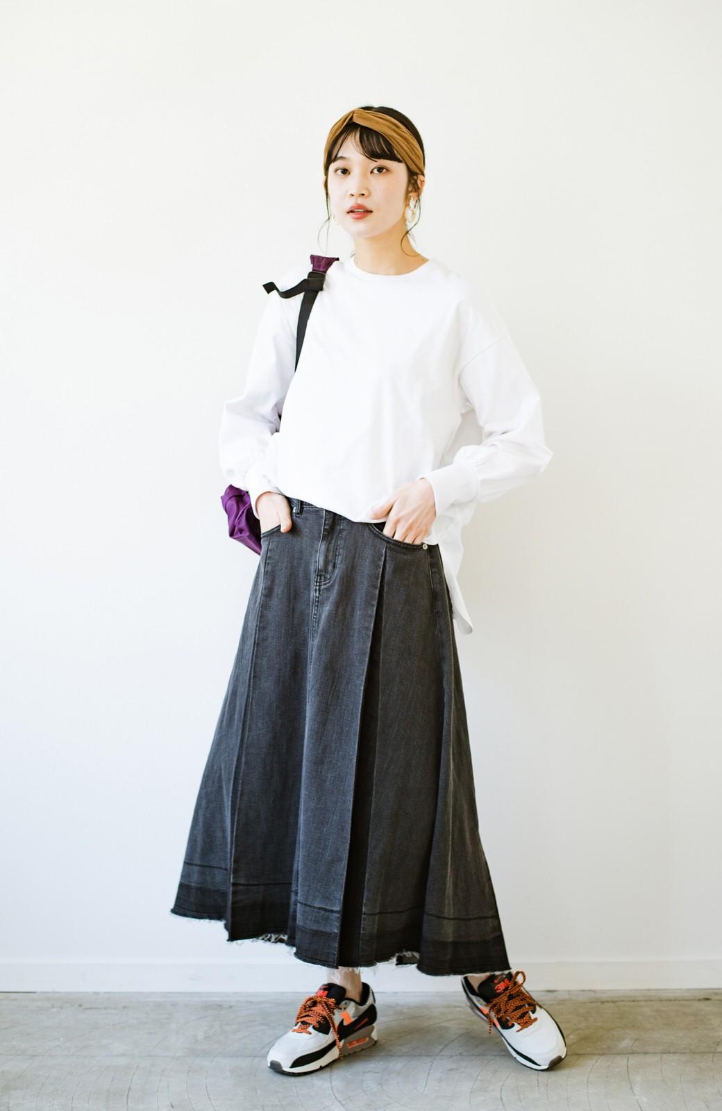 haco! 【新色登場&再入荷!】デニムパネルプリーツスカート <ブラック>の商品写真10