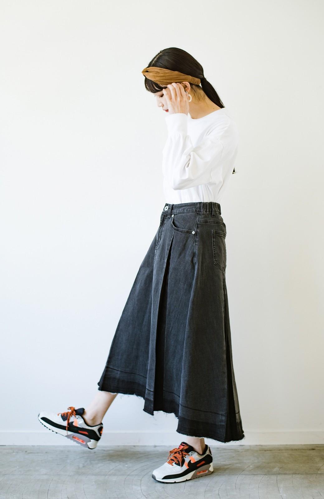 haco! 【新色登場&再入荷!】デニムパネルプリーツスカート <ブラック>の商品写真24