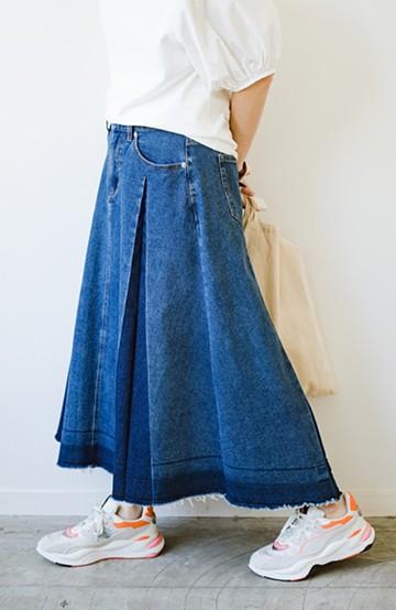 haco! 【新色登場&再入荷!】デニムパネルプリーツスカート <ブルー>の商品写真