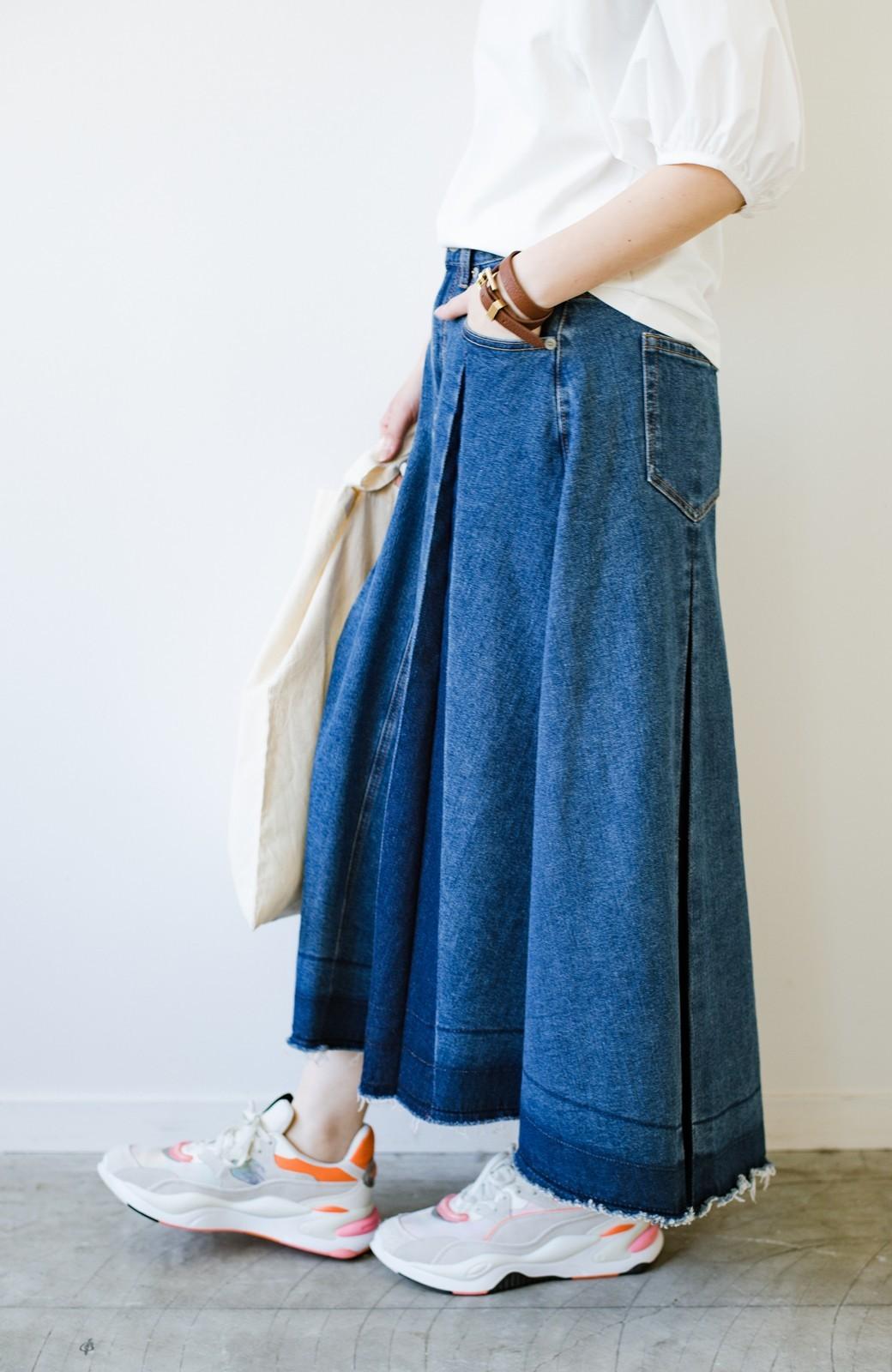 haco! 【新色登場&再入荷!】デニムパネルプリーツスカート <ブルー>の商品写真15
