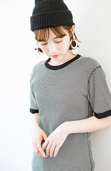 haco! 軽くて楽な着心地のベーシックワッフルクルーネックTシャツ by Healthknit<ブラック系その他>の商品写真