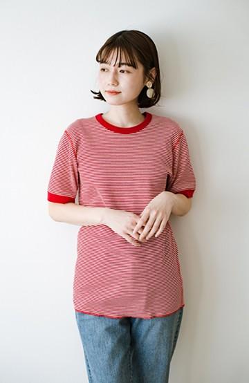 haco! 軽くて楽な着心地のベーシックワッフルクルーネックTシャツ by Healthknit<レッド系その他>の商品写真