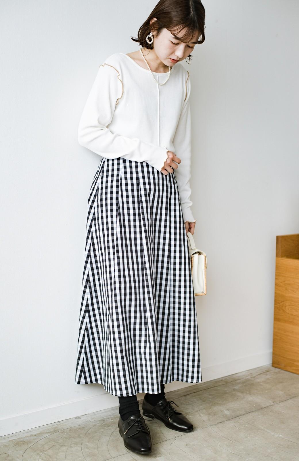 haco! カジュアルトップスと合わせても女っぽがかなう!気になる何もかもを隠してくれるマキシスカート by que made me <チェック>の商品写真26