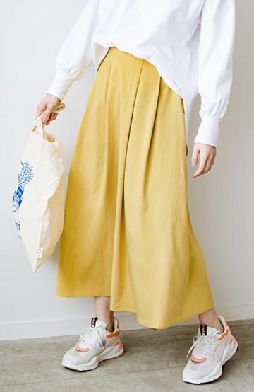 haco! カジュアルトップスと合わせても女っぽがかなう!気になる何もかもを隠してくれるマキシスカート by que made me <イエロー>の商品写真